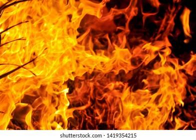 Blurred   blaze fire flame In the dark background.