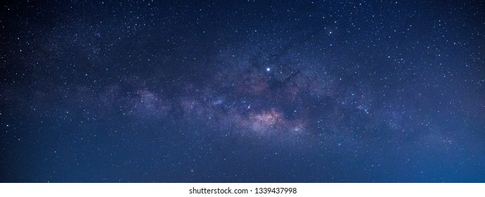 Blurred  blue night sky milky way and star on dark background.Universe filled with stars, nebula and galaxy with noise and grain.Milky Way is the galaxy that contains our Solar System.
