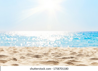 Blurred blue sky and sea with bokeh light. Landscape of tropical summer. Summer vacation concept.