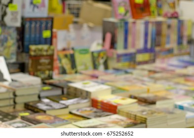 blurred book store and book fair background