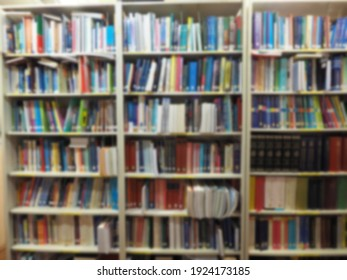blurred of books cabinet library in school