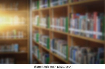 Blurred bookshelf education concept
