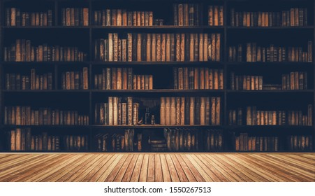 blurred bookshelf Many old books in a book shop or library