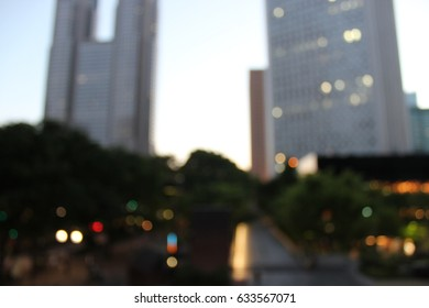 blurred building with  bokeh and road