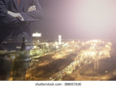 Blurred Business man success or soft Business man success in he working on marketing online or e learning with global learning and world on over blur or blurred night city view with light background.
