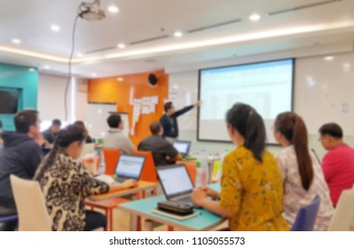 Blurred of business meeting and brainstorm in meeting room to find solution of project
