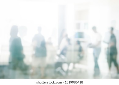 Blurred business people meeting in office interior with space for business brainstorming background design