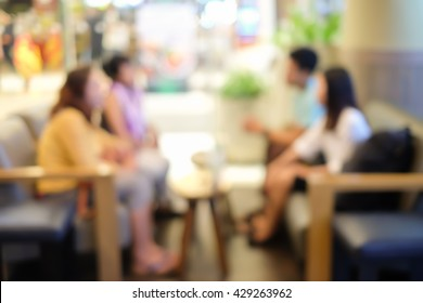 blurred of businesspeople talking and meeting work  in the coffee cafe shop mall concept.