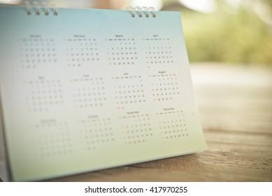 Blurred calendar page blur background.