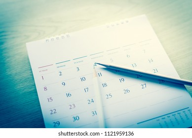 Blurred calendar in planning concept.in blue tone.
