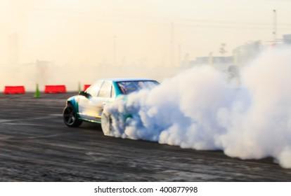 Blurred car drifting, motion blur car drift.