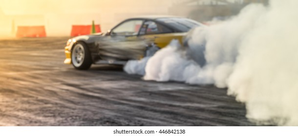 Blurred car drifting, motion blur drift car.