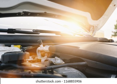 Blurred car engine and soft sunlight