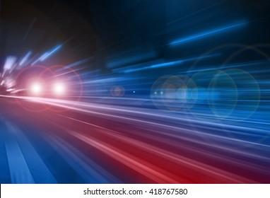 Blurred car lights, long exposure photo of traffic