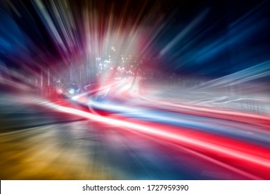 Blurred car lights in a night scene