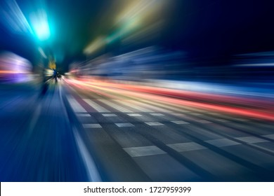 Blurred car lights in a night scene