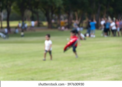 blurred children in the park