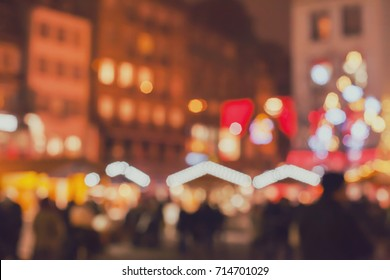blurred christmas market in Europe, holiday shopping background