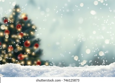 blurred christmas tree, snow, christmas, background