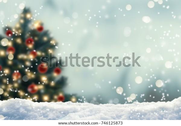 blurred christmas tree, snow, christmas, background