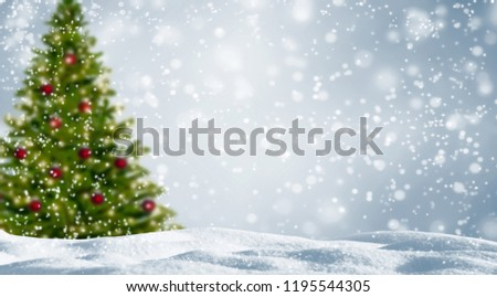 Blurred Christmas Tree Snowy Landscape Stockfoto Nu Bewerken