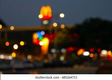 Blurred city landscape in night as Bokeh.