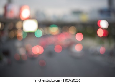 Blurred of city at night with bokeh