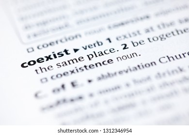Blurred close up to the dictionary definition of Coexist