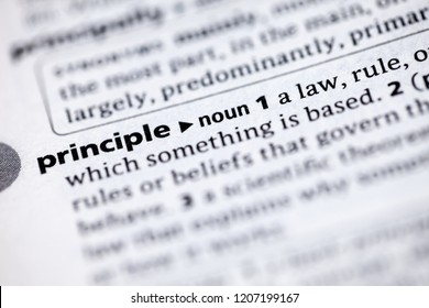 Blurred close up to the dictionary definition of Principle