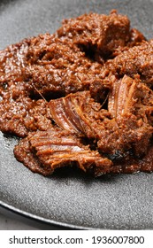 blurred close up Indonesian spicy   and tasty beef rendang