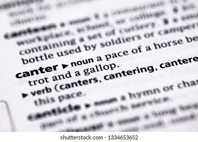 Blurred close up to the partial dictionary definition of Canter