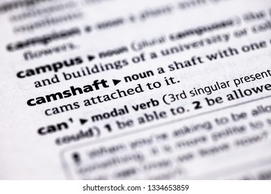 Blurred close up to the partial dictionary definition of Camshaft