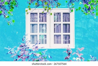 Blurred of close windows and fresh flowers in vintage retro style.soft focus.