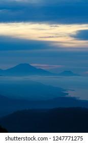 blurred coastline of Lombok