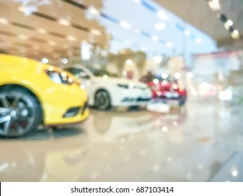 blurred  colorful car in showroom for sale ,blurred image for background use