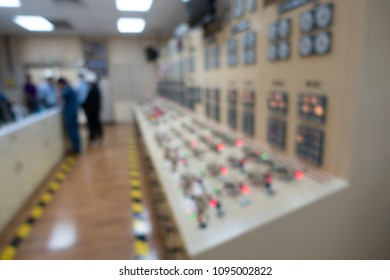 Blurred of control room at power plant of dam for operation.