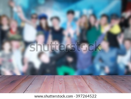 blurred croud people wooden background stock photo edit now