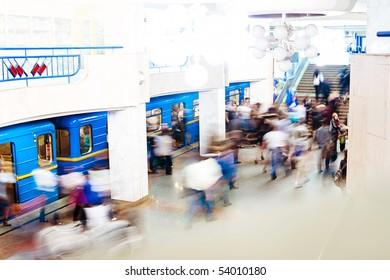 Blurred crowd in Kiev's subway