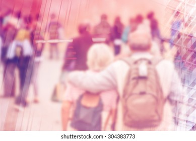 Blurred Crowd of People On Street, General Public Concept with Unrecognizable Crowded Population out of Focus, Vintage Toned Image.