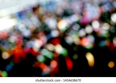 Blurred Crowd of People, unrecognizable crowded population as blur at wagah border
