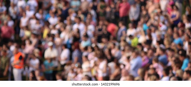 Blurred crowd of spectators on stadium