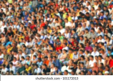 Blurred crowd of spectators at the stadium