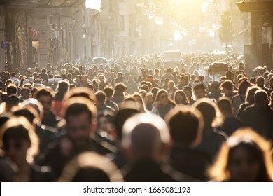 Blurred crowd at the street