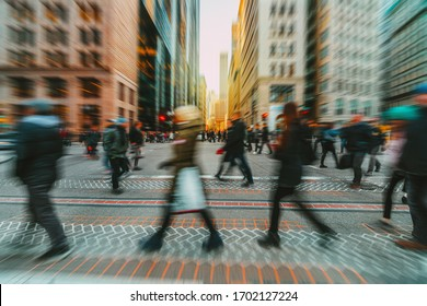 Blurred Crowd of unrecognizable business people walking on Zebra crossing in rush hour working day, Boston, Massachusetts, United States, blur business and people, lifestyle and leisure of Pedestrian