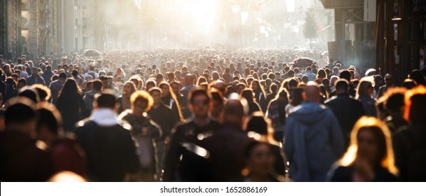 Blurred crowd of unrecognizable at the street - Shutterstock ID 1652886169