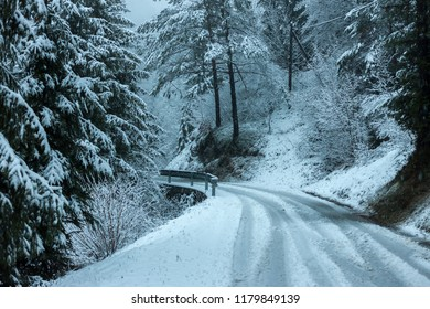 blurred dangerous snowy road cold grey mystical