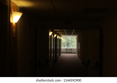 A blurred dark corridor with many wall lights and hardly seen doors between them on its left and a window with green foliage in the end.