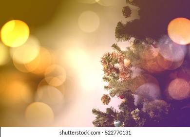 Blurred of Decorated Christmas tree.