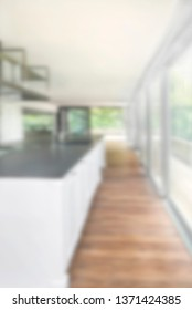 Blurred deep and sunny new kitchen Soft focused image useful as background