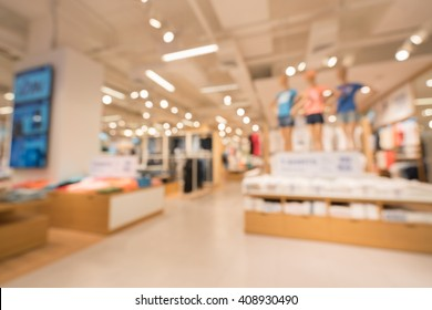 Blurred, defocused background of modern clothing store